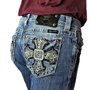 Miss Me Bootcut Jeans Cross w/Heart Pockets BLING